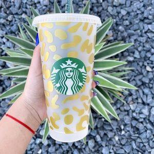 Gold Cheetah Print Starbucks Cup